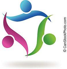 logo, uścisk, ludzie