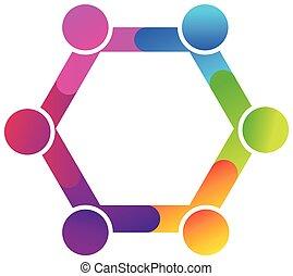 logo, uścisk, rozmaitość, ludzie, teamwork