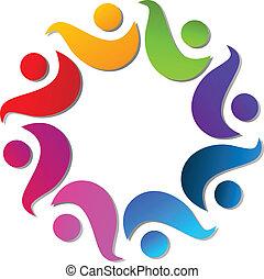 logo, uścisk, teamwork