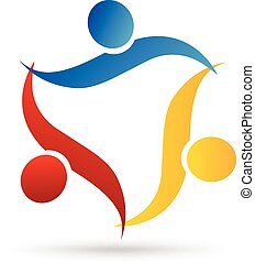 logo, uścisk, teamwork, ludzie