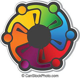logo, uścisk, wektor, teamwork, 6