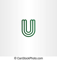 logo u letter logotype u vector green icon