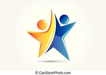 logo, uddannelses, held, folk
