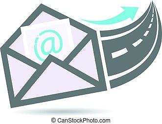logo, uit, email, snelweg, internet