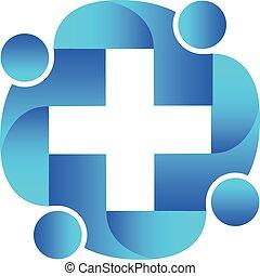 logo, Umarmung, Gemeinschaftsarbeit, Leute