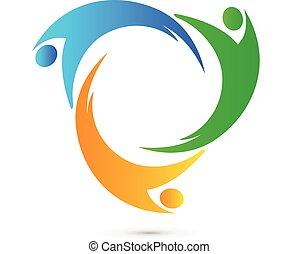 logo, unité, collaboration, gens
