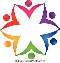 logo, unité, fleur, collaboration, gens