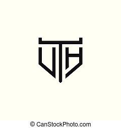 logo, uth, początkowy, litera