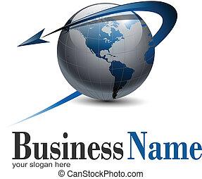 logo, värld glob