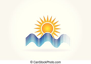 logo, vagues, soleil