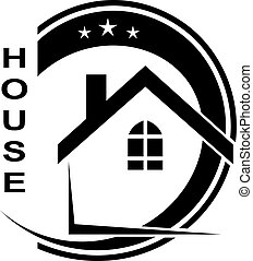 logo, van, de, woning, vrijstaand, op wit, achtergrond., family., vector, ik
