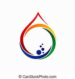 logo, vatten, bubblar