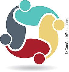 logo, vecteur, amis, social