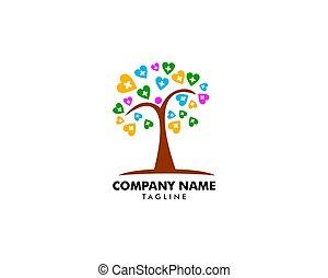 logo, vecteur, arbre, gabarit, foyer, santé