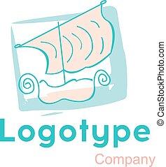 logo, vecteur, bateau, bateau, illustration