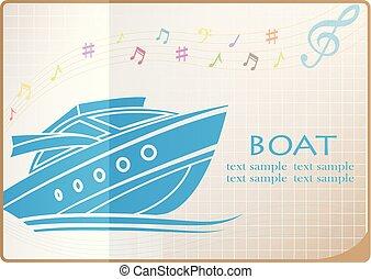 logo, vecteur, bateau
