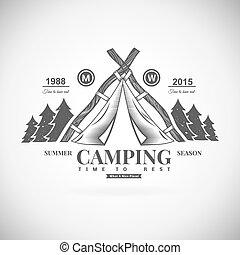 logo, vecteur, camping, retro