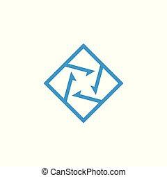 logo, vecteur, carrée, flèche