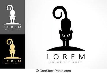 logo, vecteur, chat