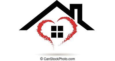 logo, vecteur, coeur, maison
