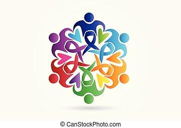 logo, vecteur, collaboration, conscience, gens