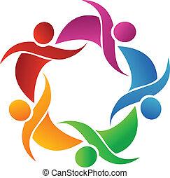 logo, vecteur, Collaboration, heureux, gens