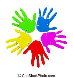 logo, vecteur, coloré, mains