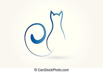 logo, vecteur, contour, chat