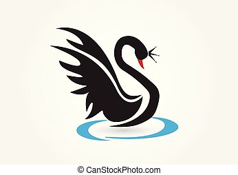 logo, vecteur, cygne noir