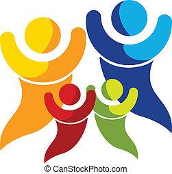 logo, vecteur, famille, heureux