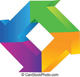 logo, vecteur, flèches, 3d