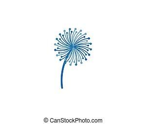 logo, vecteur, fleur, pissenlit