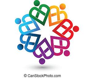 logo, vecteur, gens, chaleureux