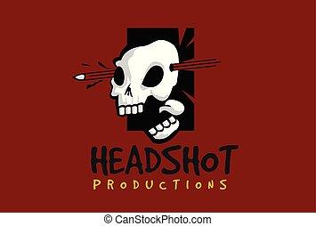 logo, vecteur, headshot, crâne, gabarit