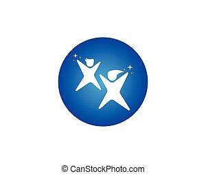logo, vecteur, heureux, gosses