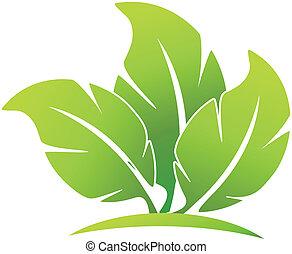 logo, vecteur, heureux, pousse feuilles, gens