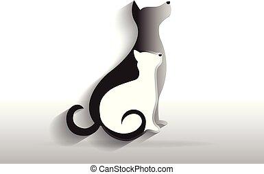 logo, vecteur, icône chien, chat