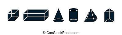 logo, vecteur, isométrique, figures, gabarit, dessin, icône, trois, study., set., géométrique, objets, dimensionnel, géométrie, math