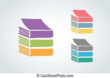 logo, vecteur, livres, icône