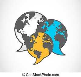 logo, vecteur, mondiale,  communication