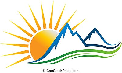 logo, vecteur, montagnes, illustration, soleil