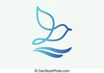 logo, vecteur, oiseau
