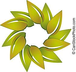 logo, vecteur, pousse feuilles