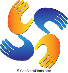 logo, vecteur, protection, mains
