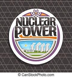 logo, vecteur, puissance, nucléaire