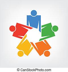 logo, vecteur, réunion, communauté