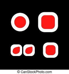 logo., vecteur, rouleau, logotype., isolé, set., icônes, sushi