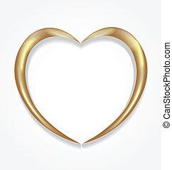 logo, vecteur, valentines, coeur or