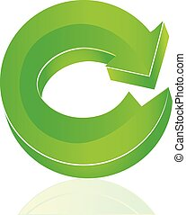 logo, vecteur, vert, flèche