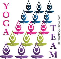 logo, vecteur, yoga, équipe